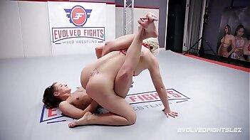 Helena Locke lesbian fight vs Dakota Marr with strapon sex