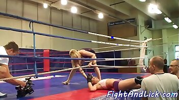 Babes wrestling and pussylicking each other